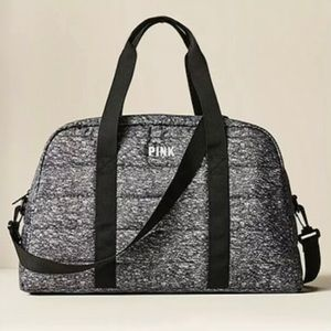 Victoria's Secret Pink Quilted Duffle Bag Gray